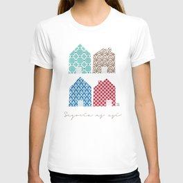 4 casitas esgrafiadas con colores. Houses. House. T-shirt