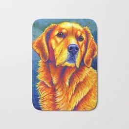 Colorful Golden Retriever Dog Portrait Bath Mat