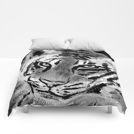 Tiger with White Background Comforters