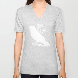 Caw Caw White Shirt Unisex V-Neck