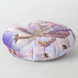 Space Cat Riding Bearded Dragon Lizard Floor Pillow