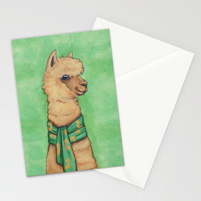 Alpaca with a Giraffe Scarf Stationery Cards