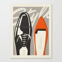 shoes Canvas Prints featuring Shoes by justin skeesuck