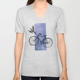 Humming Bird and Bicycle on Purple Watercolor Wash Unisex V-Neck