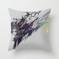 raven Throw Pillows featuring Raven by Ryky