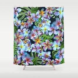 Rainbow Plumeria Dark Shower Curtain