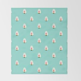 Fat bunny eating noodles pattern Throw Blanket