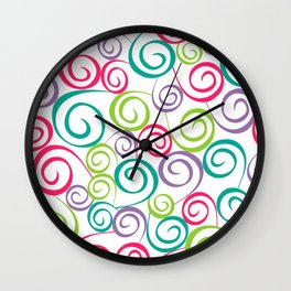 Autumn curly seamless pattern with leaf Wall Clock