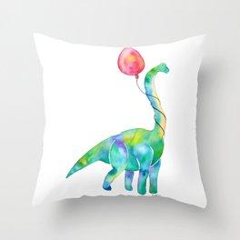 brachiosaurus with red balloon Throw Pillow