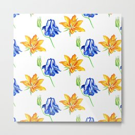 Columbine and Lily Hand Painted Diagonally Repeating Floral Pattern Metal Print