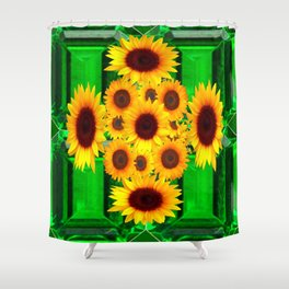 SPRING GREEN EMERALDS & YELLOW FLOWERS  ART Shower Curtain