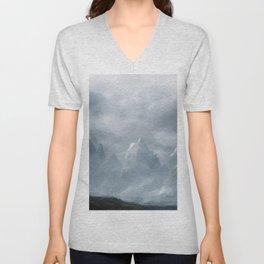 Snowy Mountains Landscape Painting 7 Unisex V-Neck