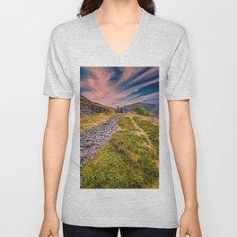 Quarry Sunset Snowdonia Unisex V-Neck