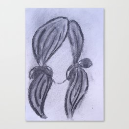 Girl with Ponytails Canvas Print