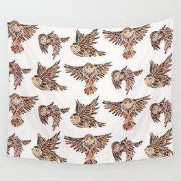 Owls in Flight – Brown Palette Wall Tapestry