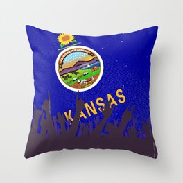 Kansas State Flag with Audience Throw Pillow