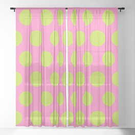 Mid Century Modern Polka Dots 566 Chartreuse and Pink Sheer Curtain