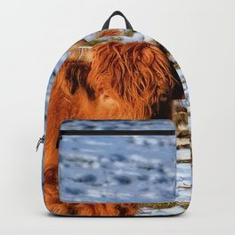 Hamish the Scottish Highland Bull in Winter Snow Backpack