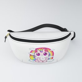 Cute Unicorn Cat Adorable Smiling Rainbow Kitty Fanny Pack