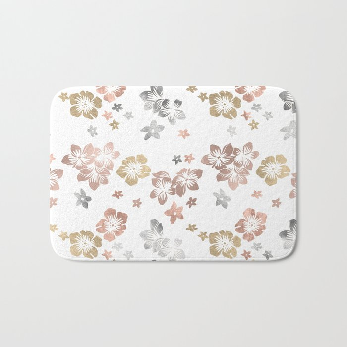 Rose Gold Copper Bronze Tropical Flowers Multi Metallic Bath Mat