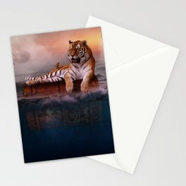 Octopus and Shark Attacks Tiger by GEN Z Stationery Cards
