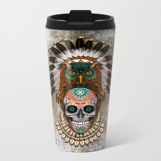 indian native Owl sugar Skull iPhone 4 4s 5 5c 6 7, ipod, ipad, pillow case Metal Travel Mug