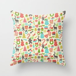 Hidden Mouse Ears Colorful Retro Inspired Christmas Throw Pillow