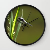 dragonfly Wall Clocks featuring Dragonfly by Christina Rollo