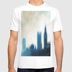 The Many Steepled London Sky White Mens Fitted Tee MEDIUM