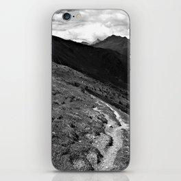 narrow hiking path alps serfaus fiss ladis tyrol austria europe black white iPhone Skin