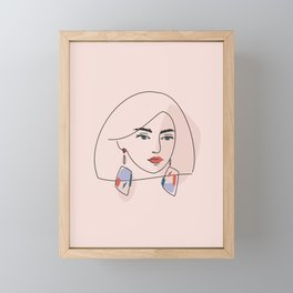 Line abstract portrait Framed Mini Art Print