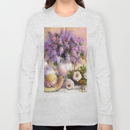 Paul de Longpre, Lilacs and Roses Long Sleeve T-shirt