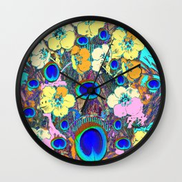 Modern Art Nouveau Peacock Jeweled Floral Blue Patterns Wall Clock
