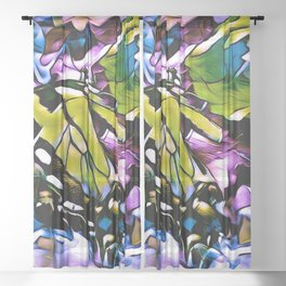 The Swallowtail Butterfly In Abstract Sheer Curtain