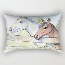 Horses Watercolor Sketch Barn Animals Horse Rectangular Pillow