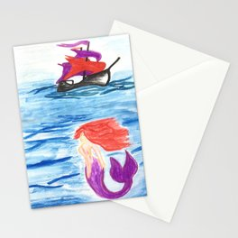 The mermaid and the pirate boat Stationery Cards
