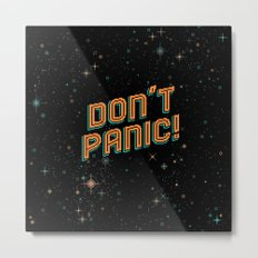 Don't Panic! Pixel Art Metal Print