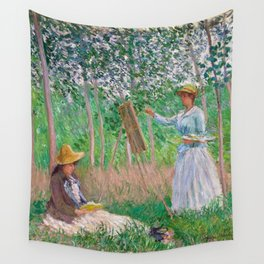 Claude Monet-In the Woods at Giverny, Blanche Hoschedé at Her Easel with Suzanne Hoschedé Reading Wall Tapestry