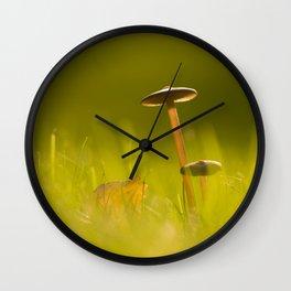 Small Mushrooms on Grass Autumn Scene #decor #society6 #buyart Wall Clock