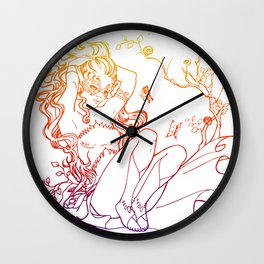The Masked Fairy - sunset colors version - A masked fairy girl surrounded by butterflies and roses Wall Clock