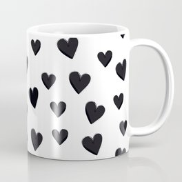 Hearts Love Black and White Pattern Coffee Mug