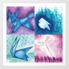Fox, Bird, Rabbit and Dragonfly Art Print