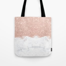 Trendy modern faux glitter rose gold brushstrokes white marble Tote Bag