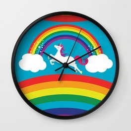 Unicorn Rainbow in the Sky Wall Clock