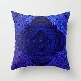 Cobalt Blue Faux Lace Filigree Throw Pillow