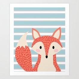 Cute fox illustration with stripes blue white and orange Art Print