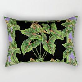 Decorative Green Tropical Botanical Foliage  Lilac-Black Art Rectangular Pillow