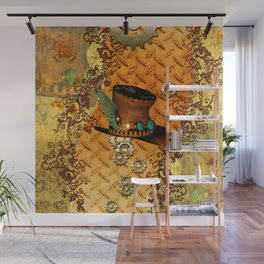 Steampunk, hat with clocks and gears Wall Mural