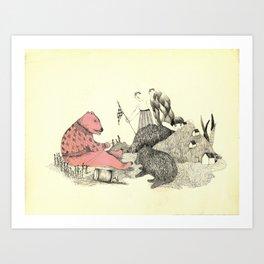 pink bear Art Print