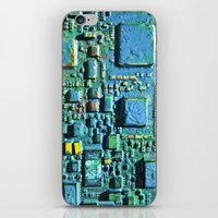 technology iPhone & iPod Skins featuring Crowded Technology  by mark jones